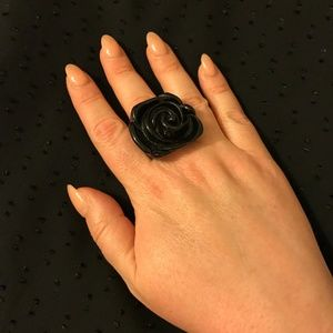 Black plastic rose ring